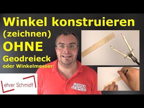 Winkel konstruieren (zeichnen) OHNE Geodreieck & Winkelmesser | Geometrie | Lehrerschmidt