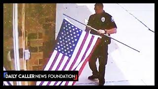 Cop Saves American Flag