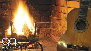 Post Rock Guitar & Fireplace Sounds • Focus Music for Studying & Deep Concentration