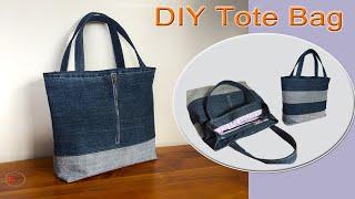 DIY TOTE BAG | JEAN TOTE BAG TUTORIAL | RECYCLE OLD JEANS /DIY BAGS SEWING / PATCHWORK BAGS TUTORIAL