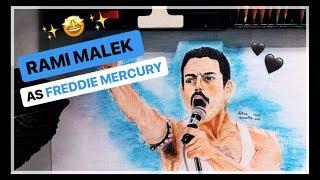 Drawing of Rami Malek as Freddie Mercury