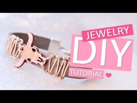 DIY TUTORIAL: Trendy armband mit Holz Büffelkopf – Selbst Schmuck machen