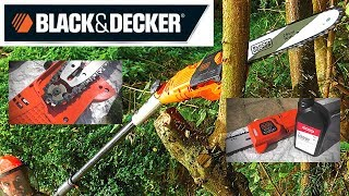 BLACK + DECKER Corded Pole chain saw. Setting up & Review.