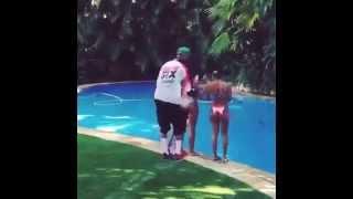 Chris brown Thrown The Girl in Pool