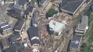 空撮・西日本豪雨:大雨特別警報1週間避難生活7000人超