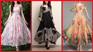 Latest Designer Chiffon Long Dresses For Summer//Floral Print Chiffon Long Gown Dresses 2019