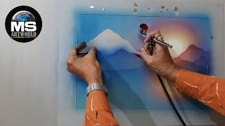 RISING SUN, Airbrush Landscape Painting  #001,  By MS Artworld