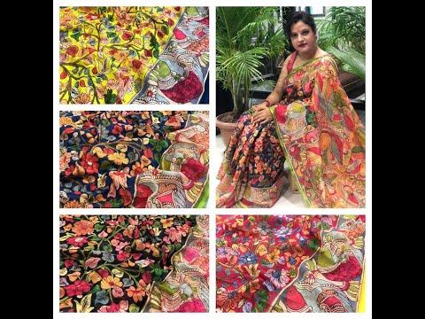 Linen floral Kalamkari Sarees