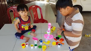 Tin chơi đồ chơi làm kem với đất sét Play doh Kid Toy - لعبة أطفال الآيس كريم مع الطين لعب دوه