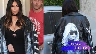 Ким в Ким: Кардашьян надела куртку-косуху с собственным портретом