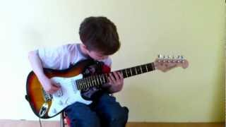 "Dustin Tomsen 7 years old covers Ace Frehley - ""Rip it out"" (included solo)"