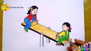 Vẽ tranh bé chơi bập bênh/How to draw Baby play Seesaw