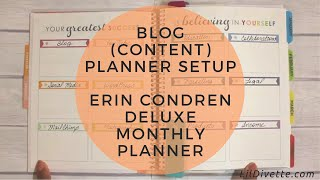 Blog (Content) Planner Setup For 2017 - Erin Condren Deluxe Monthly Planner