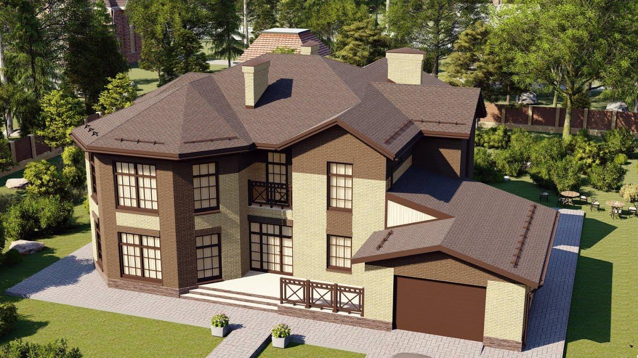 Проект большого современного дома с полукруглой лестницей