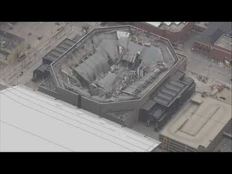 Demolition experts blew the roof off the former home of the Milwaukee Bucks on Sunday as part of a plan to tear down the old basketball arena. (Jan. 13)