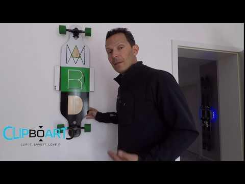 NEU: Clipboart® Wandhalterung für Longboard Kiteboard Snowboard Wakeboard Surfboard Skateboard