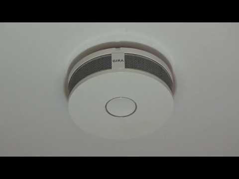 Gira Dual Q Funkrauchmelder - Testfunktion und ausgelöster Alarm