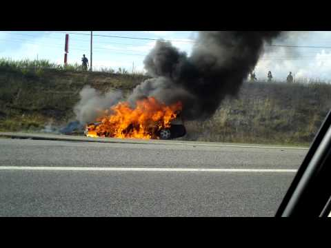 Car On Fire On Highway