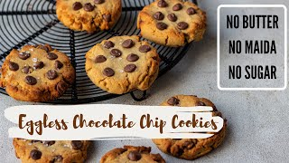Healthy EGGLESS Chocolate Chip Cookies| No Sugar | No Maida | No Butter| No Oven, 5 Ingredients Only