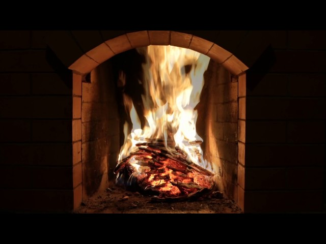 Crackling Fireplace Burning w/ Snow Storm & Howling Wind Outside   Relaxing Background Sounds (HD)