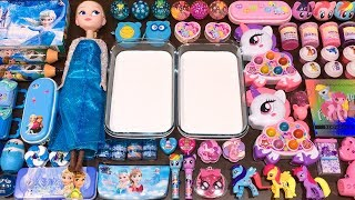 Special Series #40 BLUE vs PINK ELSA and UNICORN !! Mixing Random Things into GLOSSY Slime
