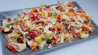 """Салат """"Сентябрь"""" съели с удовольствием. Легкий салат с курицей!"""