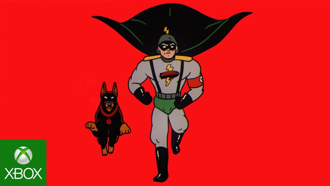 Cartoon nazi anti-hero runs with dog on red background