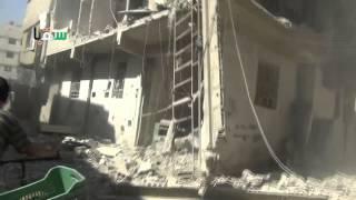 preview picture of video 'سقبا 05-10-2014 أثار القصف جراء غارة جوية على الأحياء السكنية ثاني أيام عيد الأضحى'