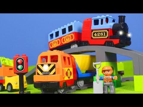LEGO Duplo Züge, Kran, Bagger & Lastwagen für Kinder   Neue Zug Unboxing Episode deutsch