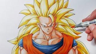 How To Draw Goku Super Saiyan 3  - Step By Step Tutorial!