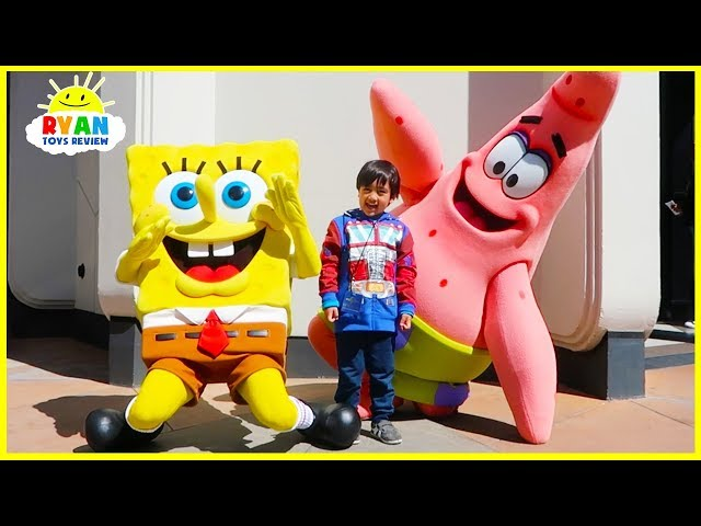 Ryan meets SpongeBob at Universal Studios Amusement Park!