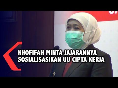 gubernur jatim khofifah minta jajarannya sosialisasikan uu cipta kerja
