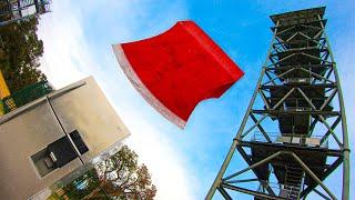 GIANT AXE BLADE Vs. FRIDGE from 45m Tower!