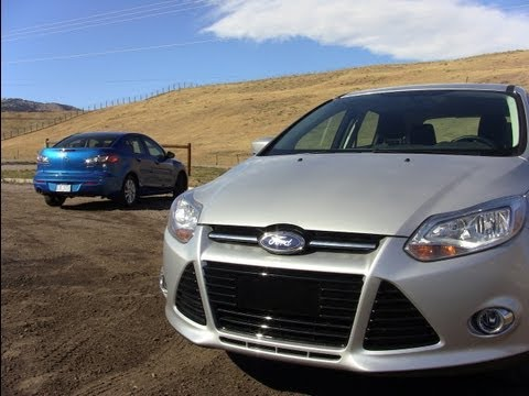 2012 Ford Focus vs Mazda 3 Mashup Review & 0-60 MPH Test