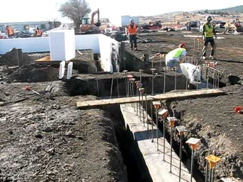 Fox Blocks in action on State Project New Mexico stem walls footing lines and first coursing