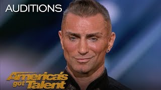 Aaron Crow: Pours Hot Wax On Eyes And Swings Sword At Howie Mandel - America's Got Talent 2018