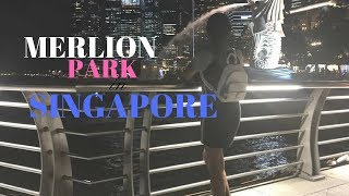Merlion Park and the Pelican Seafood Restaurant