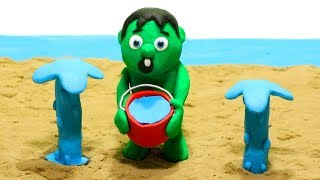 Sand beach Baby Hulk 💕 Play Doh Stop Motion Cartoons for kids