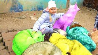 Алиса весело играет с собачками ХАСКИ !!! Развлечение для детей в горах !!!