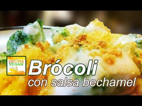 Brócoli con salsa bechamel - Cocina Vegan Fácil