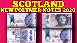Currency of the world - Scotland. The Scotland's  new polymer £20 banknotes 2020.