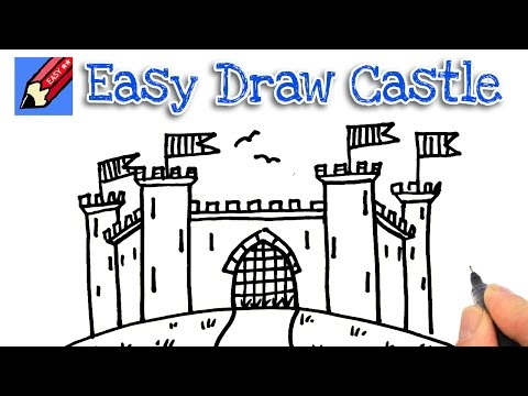 How to draw a castle real easy for kids and beginners