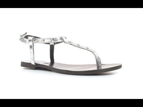 Doria Maria Damen-Sandaletten BAL/G in Silber mit Nieten