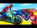SPIDERMAN Motorbikes Challenge Mega Ramp - GTA V Superheroes