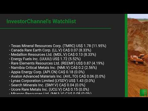 InvestorChannel's Rare Earths Watchlist Update for Friday, May 29, 2020, 16:03 EST