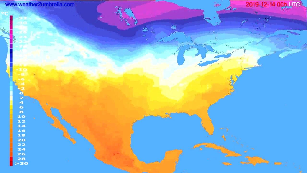 Temperature forecast USA & Canada // modelrun: 00h UTC 2019-12-13