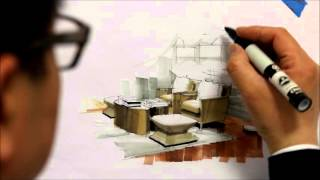 Tutorial - Freehand Marker Interior Rendering, MLib Living Room, HD Short 10 Min, 160115
