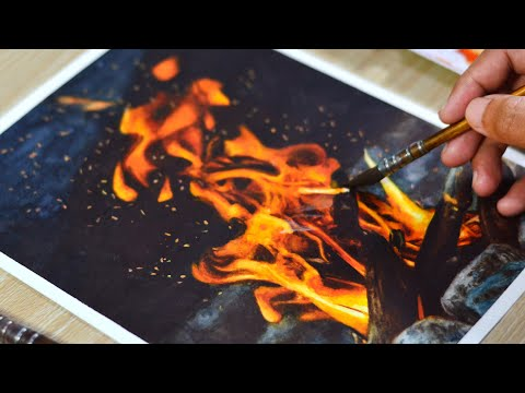 painting realistic fire using watercolors by kembart