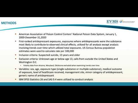 Thumbnail image of video presentation for Suspected Suicides Amongst Antidepressant Exposures Reported to United States Poison Control Centers, 2000-2020
