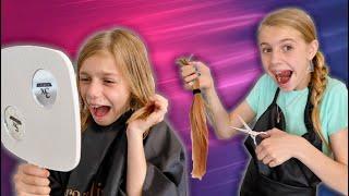 Savannah Cut Lizzy's Hair In Savannah's Dream Beauty Salon! Funny Kids Story With Sisters!